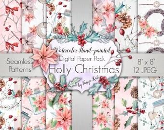 Holiday Digital Paper Pack, Christmas Digital Paper, Watercolor Digital Paper, Floral Digital Paper, Scrapbook Paper, Pink Christmas Paper