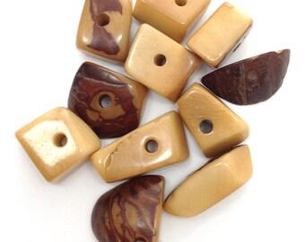 Tagua Dreiecke, mittel, hellbraun, 15mm, 10 Stück,