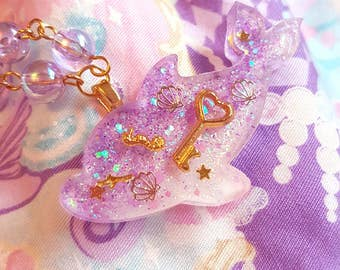 Purple Dolphin Necklace - Sweet lolita fairy kei mermaid jewelry