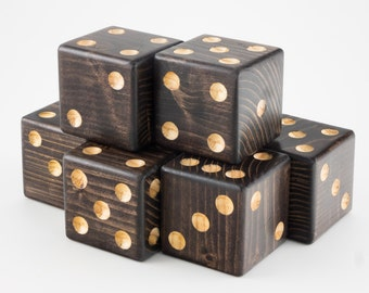 Yard Dice Set of 6 dice - Espresso Color with laminated Yard-zee card with Farkle game instructions