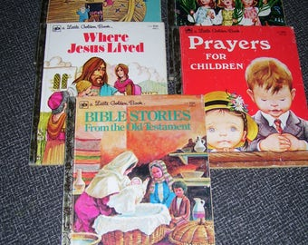 Religious Golden Books  Christian Golden Books Set of 5 1970s Vintage