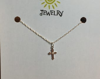Tiny Sterling Silver Cross Necklace