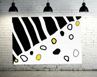 Abstract Painting Black White Yellow Canvas HAND PAINTED Wall art Modern Contemporary Home Decor Giant Home decor By - Artist Jerry Titan