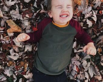 Color blocked raglan tee, maroon/olive green/mustard, fall color tee, baby boy maroon tee, baby girl maroon tee, burgundy baby shirt