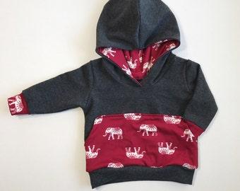 Maroon elephant baby hoodie, maroon tribal elephant sweatshirt, tribal baby hoodie, elephant sweatshirt, tribal elephant baby