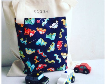 Toy Car Storage Bag, Hot Wheels Storage Bag, Toy Animal Storage Bag, Custom Shopper Bag, Kids Library Bag. Choose Motif or Pocket and Name.