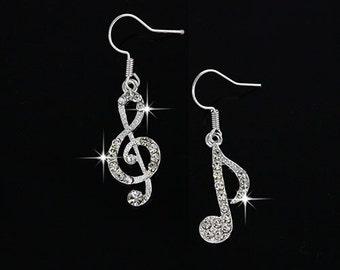 Music Drop Ear Rings Fashion  Crystal
