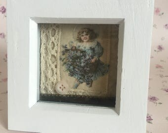 Mixed media vintage girl with blue flowers framed art