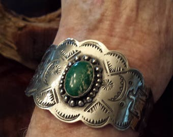 Sterling silver turquoise native American cuff