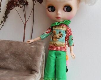 RESERVE A ROSEMINTY trouser/shirt/blouse for doll/dolls Blythe, Tangkou, Barbie, Pullip