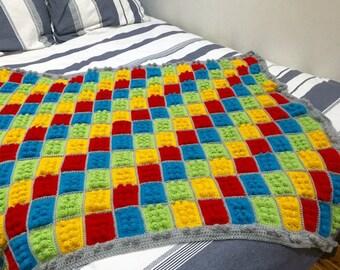 Lego Blanket, Crochet Blanket, Lego Black Blanket, Kids Blanket, Boy Blanket.
