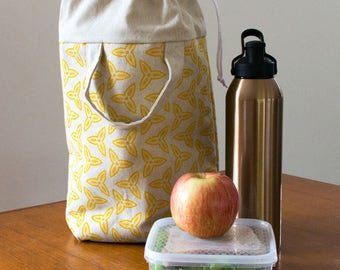 Yellow insulated lunch tote for women. Drawstring lunch bag for teens. Cooler bag /lunch box carrier. Waterproof food safe adult lunch bag.