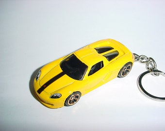 3D Porsche Carrera GT custom keychain by Brian Thornton keyring key chain finished in yellow color trim diecast metal body