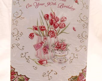 Special Wishes on your 90th Birthday Card Bag of Flowers