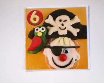 Boy's 6 Pirate Birthday Card