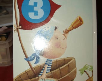 A Pirate who is 3 Today Birthday Card