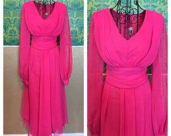 "Vintage 1960s Dress - Hot Pink ""Genie"" Sheer Balloon Sleeves - M"