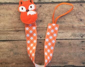 Fox Pacifier Clip - Pacifier Holder - Pacifier Clip - Boy Pacifier Clip - Baby Pacifier Clip - Fox - Orange Fox - Fox paci clip - baby girl