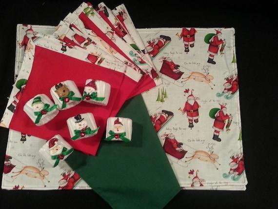 "Handmade Christmas "" Santa and Reindeer""  Placemat set W/ Napkins & Rings"