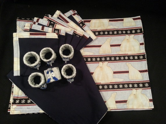 "Handmade Christmas "" Polar Bears w/ Snowflakes "" Placemat sets w/ Napkins, & Rings"