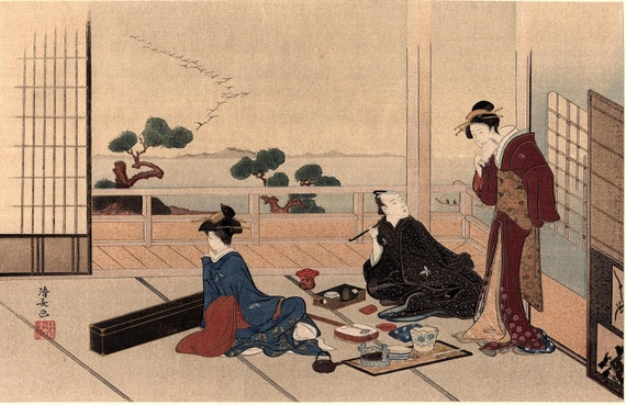 "1923, Japanese vintage Woodblock print Ukiyo-e, Torii Kiyonaga ""Entertainment"""