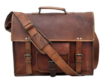 Custom Handmade 15'' 100% Classic II Genuine Leather Messenger Laptop Briefcase Sachel Bag