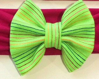 Mexican / Ethnic Bow Headband in HOT PINK, GREEN, Mexico