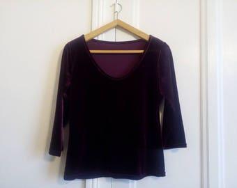 High t-shirt purple velvet - vintage -.