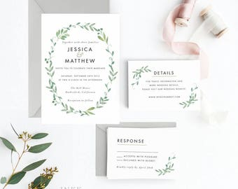 Botanical Wedding Invitation Suite, Wedding Invitation Printable, Invitation Set, Wedding Invitation Rustic, Letter or A4 (Item code: P228)