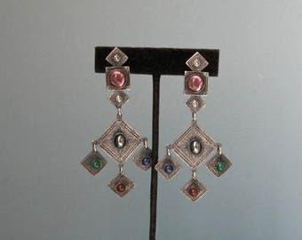M Baer Fabulous Clip Earrings Vintage 1980 Boho