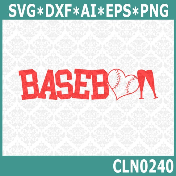 CLN0240 Baseball Game Heart Bat Sport Word Art play SVG DXF Ai Eps PNG Vector Instant Download Commercial Cut File Cricut Silhouette