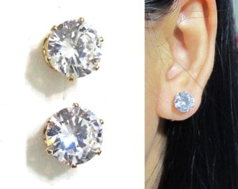 8mm Invisible Wedding Clip-on Earrings |11J| Comfortable Bridal Crystal Diamond Rhinestone Clip on earrings, Non Pierced earrings, Earrings