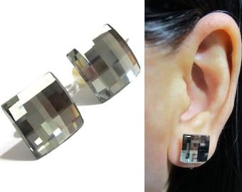 Swarovski Crystal Clip On earrings |12D| 10mm Square Black Diamond rhinestone clip on earrings, Wedding Clip on, Bridal Clip on, Clipons
