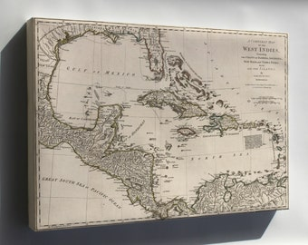 Canvas 24x36; Map Of West Indies; Cuba Florida Mexico 1774 P1