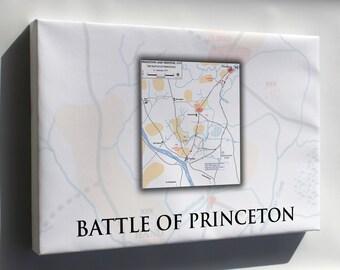 Canvas 24x36; Battle Of Princeton Map, 2–3 January 1777 General George Washington