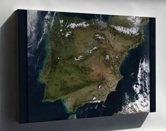Canvas 24x36; Spain And Portugal Landsat