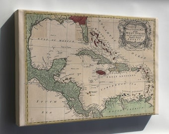 Canvas 16x24; Map Of The West Indies Cuba Florida Mexico 1755