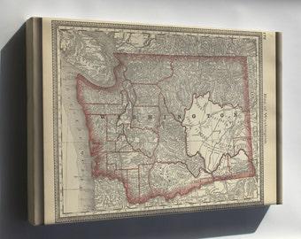 Canvas 16x24; Map Of Washington State 1881