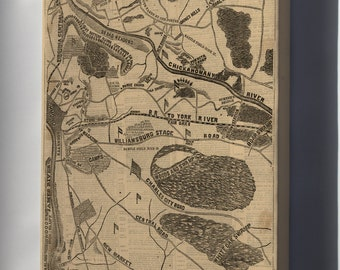 Canvas 16x24; Map Mcclellans Operations Richmond Virginia 1862