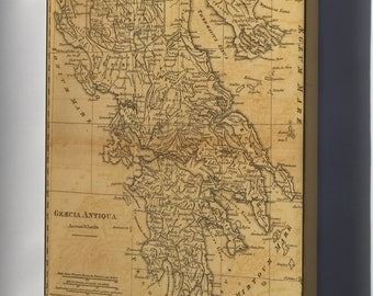 Canvas 16x24; Map Of Ancient Greece C1814 By M'Dermut