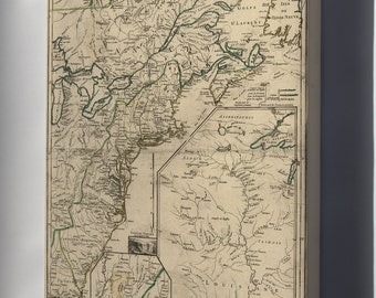 Canvas 16x24; Map Of New England & Canada 1755 P1