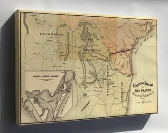 Canvas 16x24; Map Of Corpus Christi & Rio Grande Railroad 1874