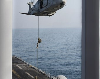 Canvas 16x24; Italian Marines Fast Rope From Eh101 Onto Uss Boxer Lhd 4 In 2013