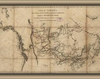 16x24 Poster; Map Alexander Mackenzie Route North America 1801