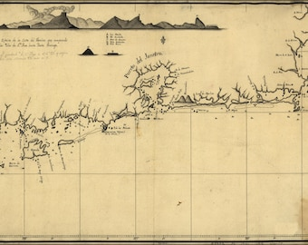 16x24 Poster; Map Of Coast Of Rio De Janeiro Brazil 1780