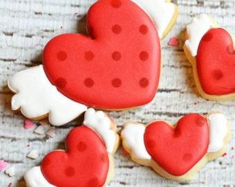 One dozen flying hearts