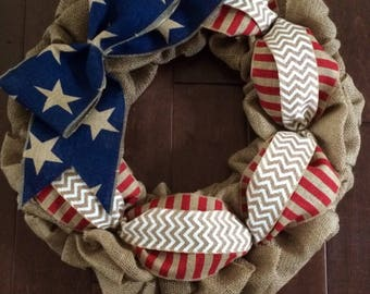 Large Patriotic Burlap Wreath - Americana Wreath - 4th of July Wreath - Memorial Day Wreath - Red White Blue Burlap Wreath - Summer Wreath