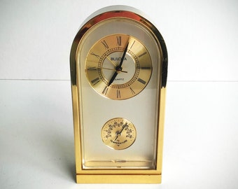 Vintage Desk Clock - Nautical Decor - Anniversary Gift - Wedding Gift Clock - Bulova Weather Clock - Brass Desk Clock - Vintage Office Clock