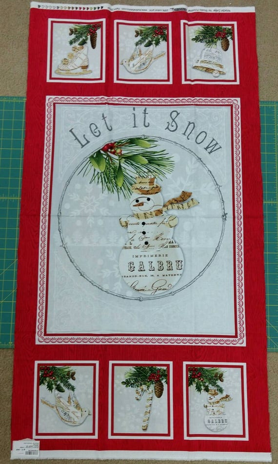 Let It Snow Panel Of Fabric Winter Lodge Snow Snowman