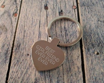 Engraved Heart Keyring - Key Chain - Key Ring - Personalised Gift - Valentines Day Gift - Best Girlfriend EVER - add your message